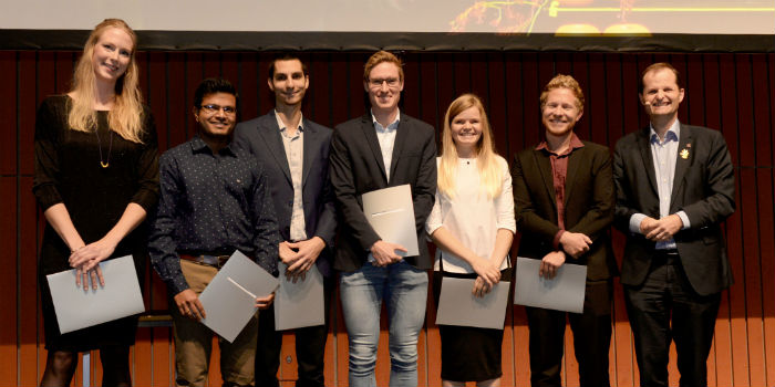 Arun Kumar Somavarapu (second from the left) was one of six researchers who won the 'Young Researcher Award'.  Photo: Birgitte Røddik