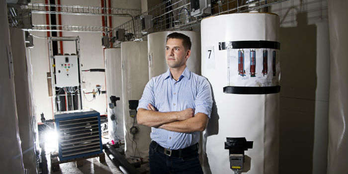 Gerald Englmair PhD at DTU Civil Engineering has documented that salt batteries can cover up to 71 percent of the heat demand in an energy-efficient three-person house in Danish climate. Photo: Joachim Rode.